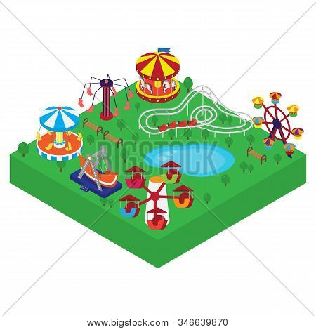 Amusement Park Vector Isometric Illustration. Different Outdoors Amusement Attractions Carousels, Sw
