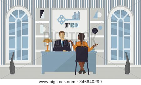 Job Recruitment Interview In Office, People Employer And Candidate Vector Illustration. Job Intervie