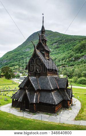 Old wooden Borgund Stave Church, Sogn og Fjordane county, Norway. Landscape photography