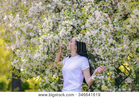 Young Beautiful Woman In Blooming Garden, Outdoor Portrait Of Lady Enjoying Apple Tree Blossoms, Spr