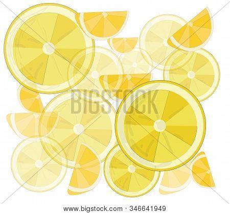 Lemon, Sliced Lemons And Leaves. Vector Illustrations