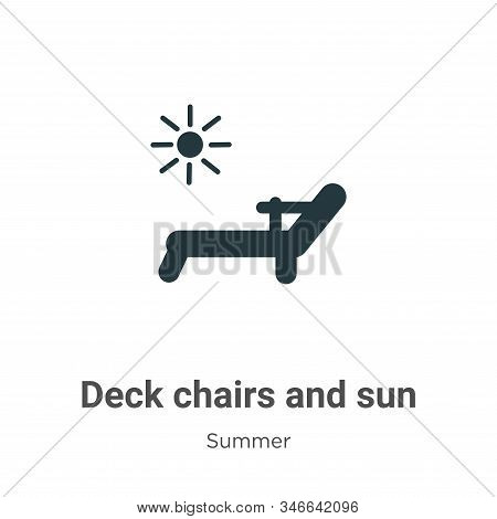 Deck chairs and sun icon isolated on white background from summer collection. Deck chairs and sun ic