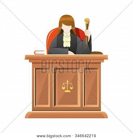Vector Illustration Judge Sitting Behind The Desk Court In Courthouse Holding Wooden Gavel, Female J