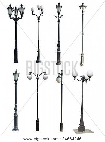 lamp post collection. street  lampost set. streetlight collection. isolated on white background. poster