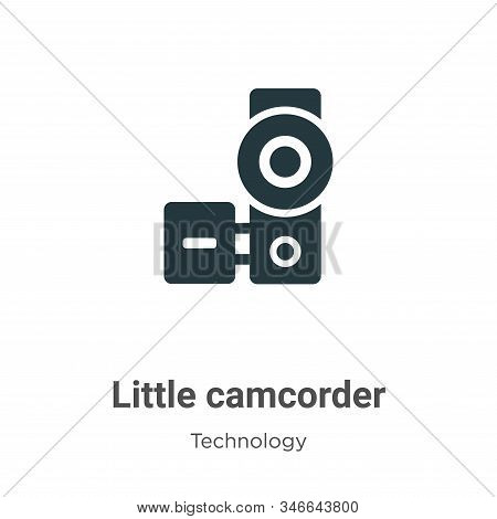 Little Camcorder Glyph Icon Vector On White Background. Flat Vector Little Camcorder Icon Symbol Sig
