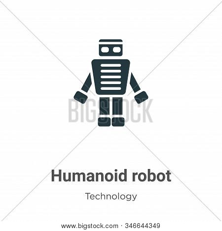 Humanoid Robot Glyph Icon Vector On White Background. Flat Vector Humanoid Robot Icon Symbol Sign Fr