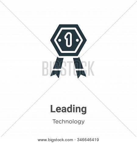Leading Glyph Icon Vector On White Background. Flat Vector Leading Icon Symbol Sign From Modern Tech