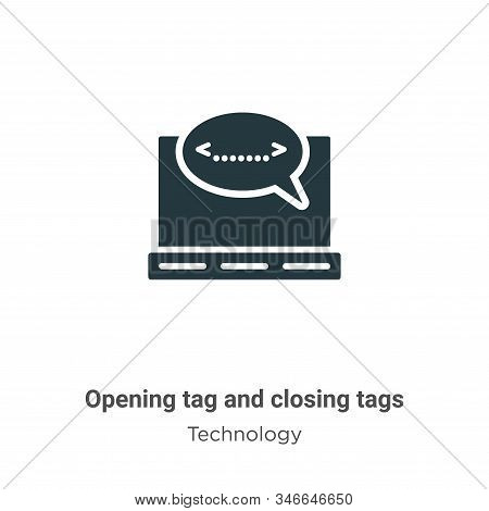 Opening tag and closing tags icon isolated on white background from technology collection. Opening t