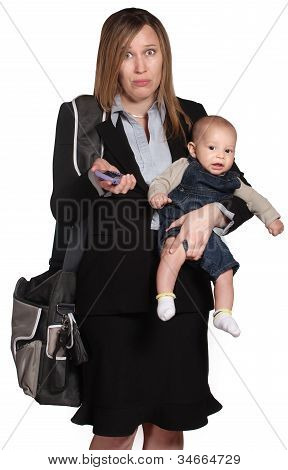 Confused Professional With Baby