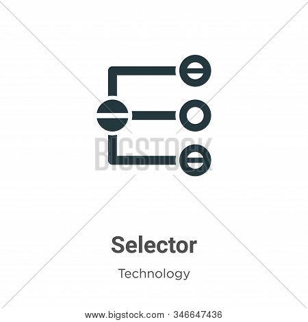 Selector Glyph Icon Vector On White Background. Flat Vector Selector Icon Symbol Sign From Modern Te