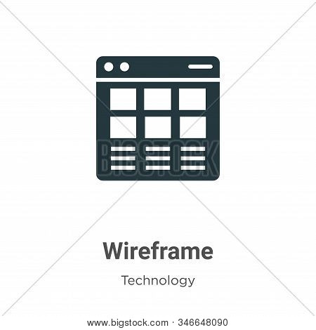 Wireframe Glyph Icon Vector On White Background. Flat Vector Wireframe Icon Symbol Sign From Modern