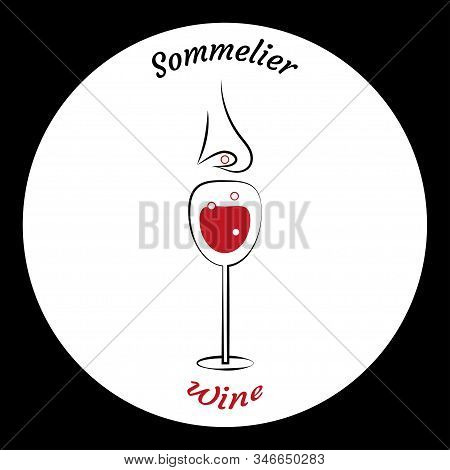 Glass Of Wine And Sommeliers Nose. Choice Of Wine. Circular White Background On Black Square. Elemen