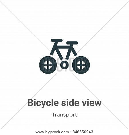 Bicycle side view icon isolated on white background from transport collection. Bicycle side view ico