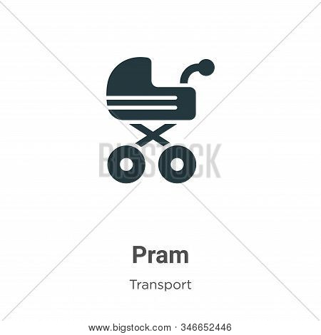 Pram Glyph Icon Vector On White Background. Flat Vector Pram Icon Symbol Sign From Modern Transport