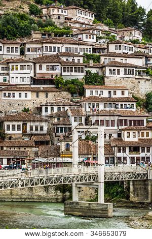 Berat, Albania - July 31, 2014. Detail Of Houses With Brown Roofs In Berati