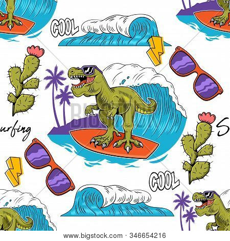 Seamless Textile Pattern With Funny Kid T-rex Tyrannosaurus Rex Surfer Dino Dinosaur Riding On Big W
