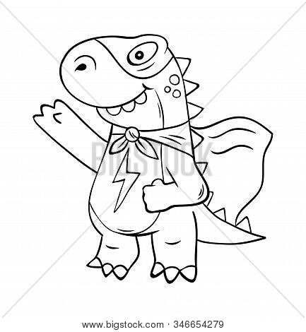 Superhero Super Dino Lizard T-rex In Mask. Trendy Print Design Modern Vector Cartoon Illustration Fo