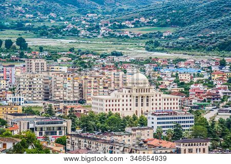 Berat, Albania - July 31, 2014. Landscape View Of Berat Castle On City With Its University