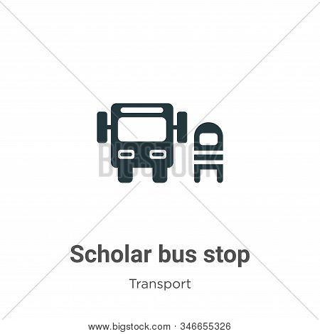 Scholar Bus Stop Glyph Icon Vector On White Background. Flat Vector Scholar Bus Stop Icon Symbol Sig