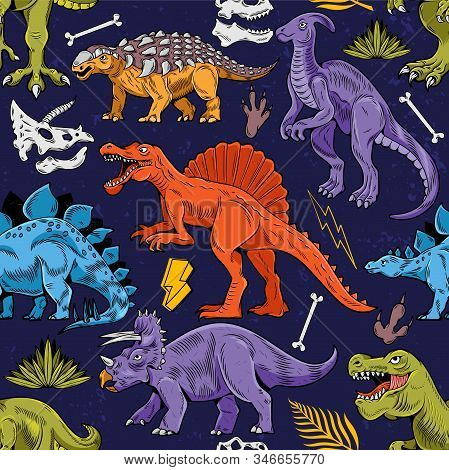 Seamless Pattern Engraving With Colored Lizard Dino Dinosaurs Cartoon Colorful Vintage Vector Illust