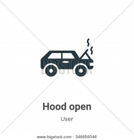 Hood open icon isolated on white background from user collection. Hood open icon trendy and modern H