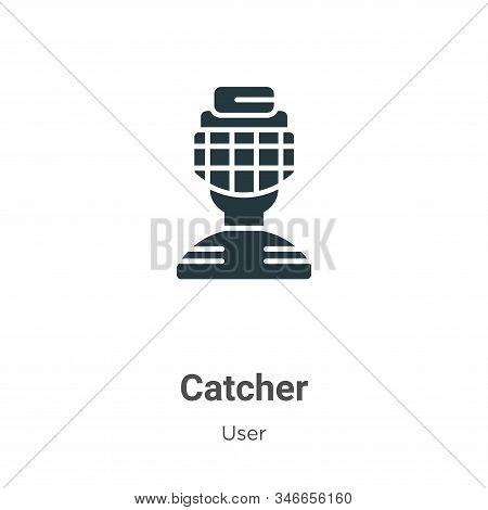 Catcher Glyph Icon Vector On White Background. Flat Vector Catcher Icon Symbol Sign From Modern User