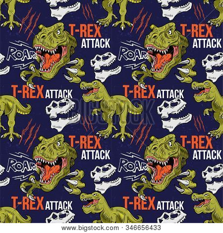 Seamless Textile Pattern With T-rex Attack Tyrannosaurus Rex Dinosaur Dangerous Dino Head Make Noise