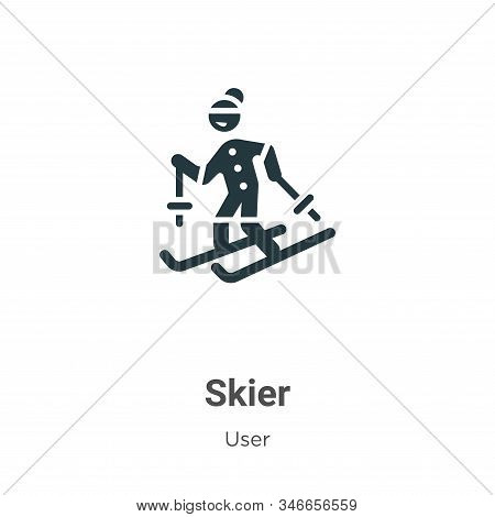 Skier icon isolated on white background from user collection. Skier icon trendy and modern Skier sym
