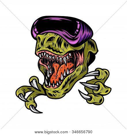 T Rex Dinosaur Gamer Angry Head Which Play Virtual Arcade Video Game In Modern Vr Glasses. Custom De