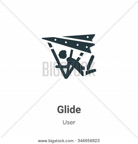 Glide Glyph Icon Vector On White Background. Flat Vector Glide Icon Symbol Sign From Modern User Col