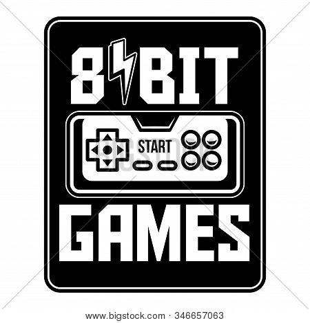 8 Bit Retro Old Gamepad Joystick Video Game Controller. Custom Vector Illustration About Geek Cultur