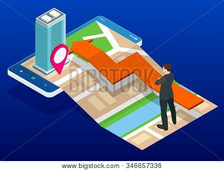 Isometric Town Map With Gps Navigation Mobile Application, Traveling Navigation, Interactive City Na