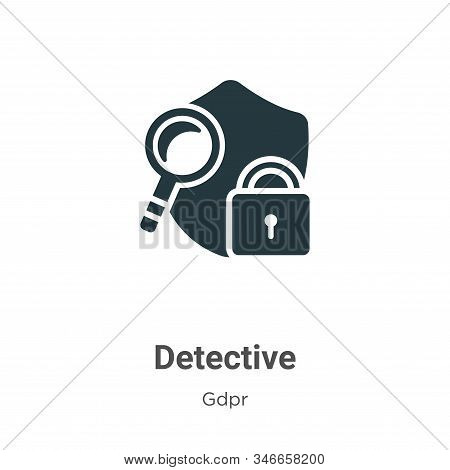 Detective Glyph Icon Vector On White Background. Flat Vector Detective Icon Symbol Sign From Modern