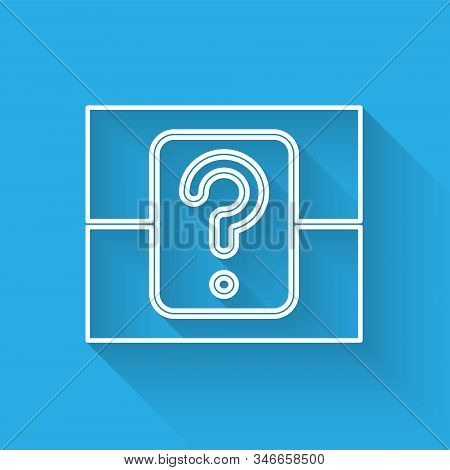 White Line Mystery Box Or Random Loot Box For Games Icon Isolated With Long Shadow. Question Box. Ve