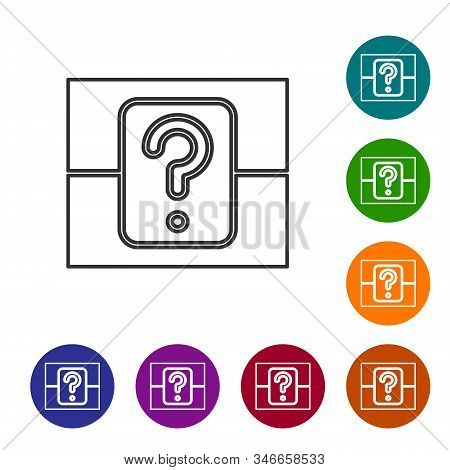 Grey Line Mystery Box Or Random Loot Box For Games Icon Isolated On White Background. Question Box.