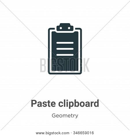 Paste clipboard icon isolated on white background from geometry collection. Paste clipboard icon tre