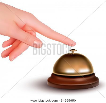 Hand ringing the bell to call. Service desk. Vector illustration.