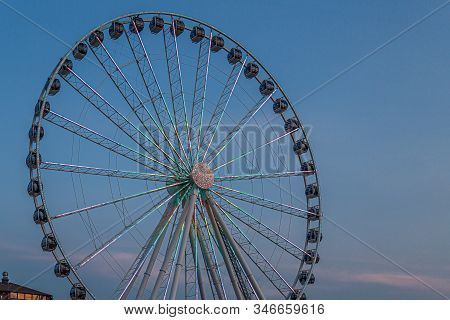 Seattle, Washington - July 4, 2019: The Seattle Great Wheel Is A Ferris Wheel At Pier 57 In Seattle,