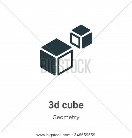 3d cube icon isolated on white background from geometry collection. 3d cube icon trendy and modern 3