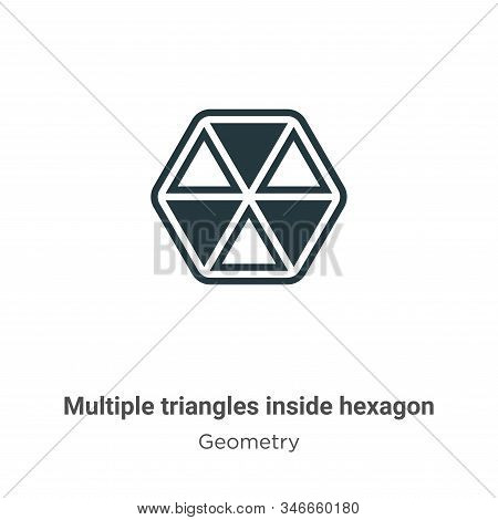 Multiple triangles inside hexagon icon isolated on white background from geometry collection. Multip