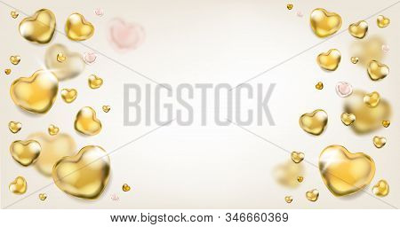 Elegance Ligh Background With Shiny Golden Hearts