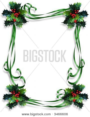 Christmas Ribbons And Holly Border 3D
