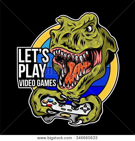T Rex Angry Dinosaur Gamer Which Play Game On Joystick Gamepad Controller For Arcade Video Game. Cus