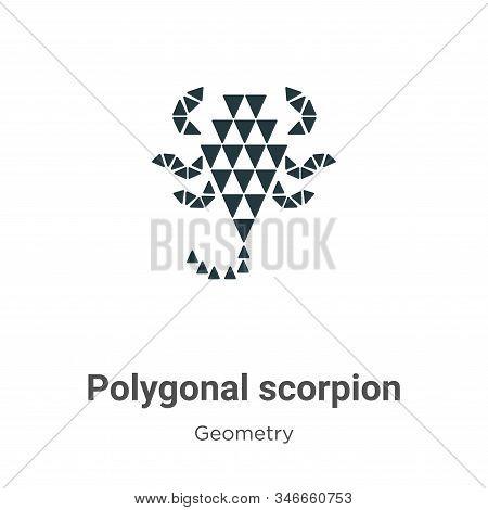 Polygonal Scorpion Glyph Icon Vector On White Background. Flat Vector Polygonal Scorpion Icon Symbol