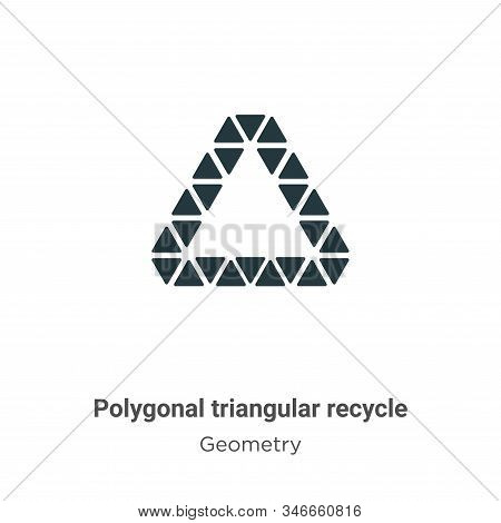 Polygonal Triangular Recycle Symbol Glyph Icon Vector On White Background. Flat Vector Polygonal Tri