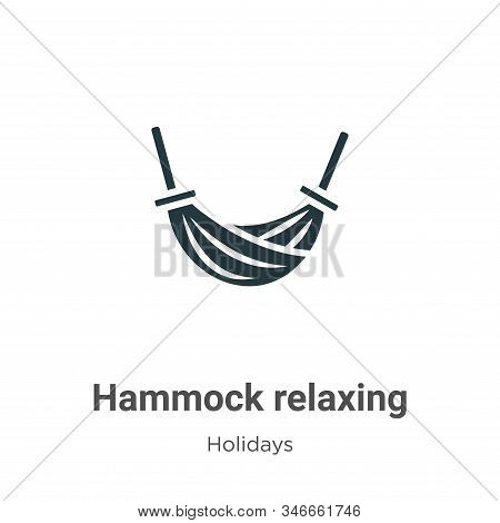 Hammock Relaxing Glyph Icon Vector On White Background. Flat Vector Hammock Relaxing Icon Symbol Sig