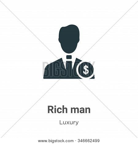 Rich Man Glyph Icon Vector On White Background. Flat Vector Rich Man Icon Symbol Sign From Modern Lu