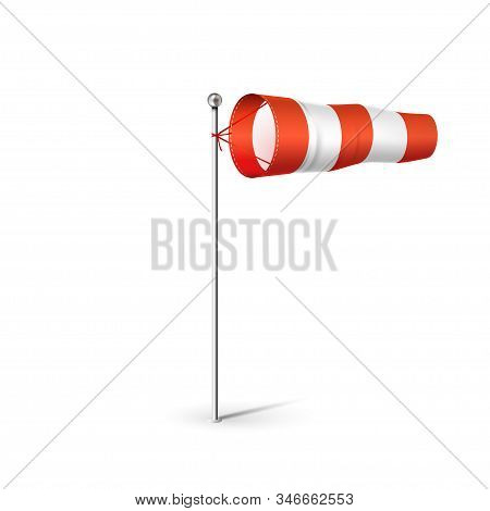 Airport Wind Sock 3d Realistic Vector Illustration. Red And White Wind Flag Showing Wind Direction A