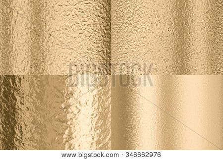 gold hammered effect background, four different solutions with different lighting and texture dimensions. 3d render. concept of luxury and wealth.