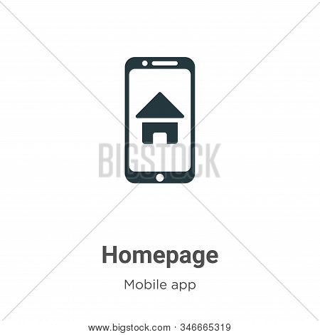 Homepage Glyph Icon Vector On White Background. Flat Vector Homepage Icon Symbol Sign From Modern Mo
